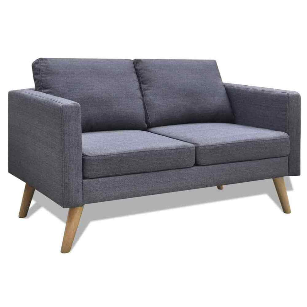 Details about modern fabric sofa 2 seater couch wooden frame living room furniture dark gray