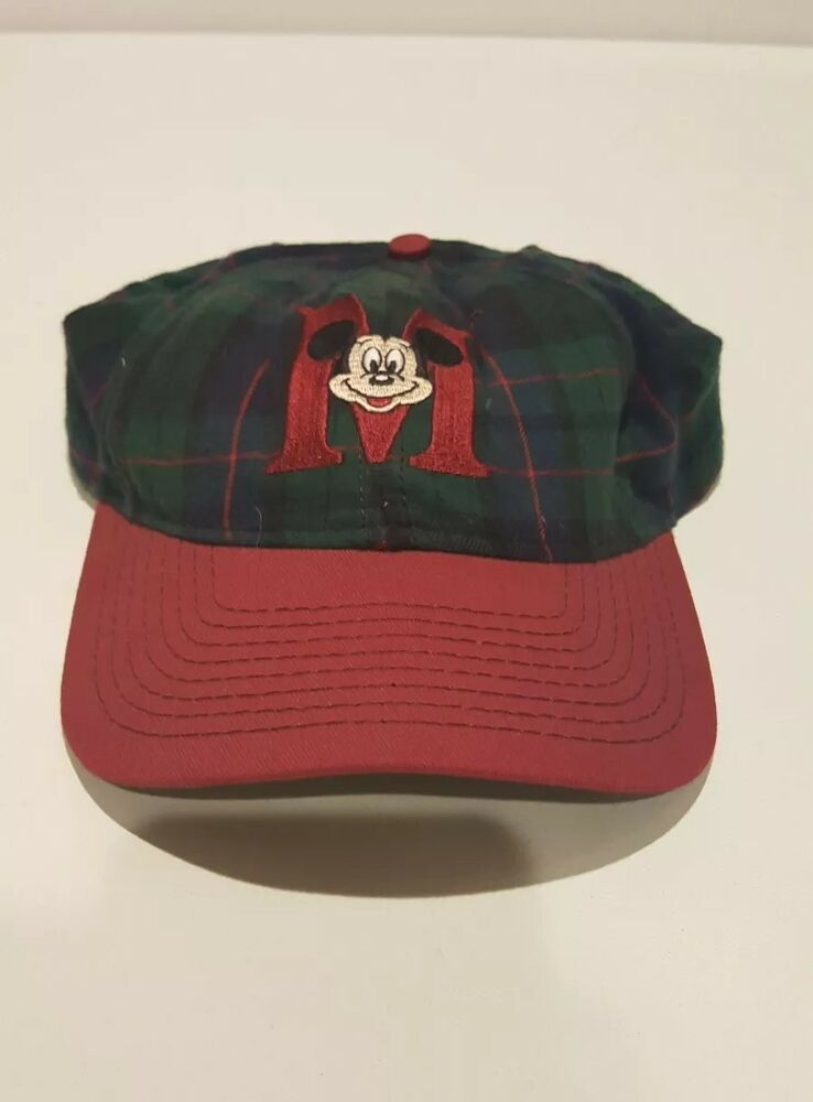 9648533e57f Details about VINTAGE MICKEY MOUSE Plaid Snapback Hat - Green Red Disney  World Goofy s Hat Co