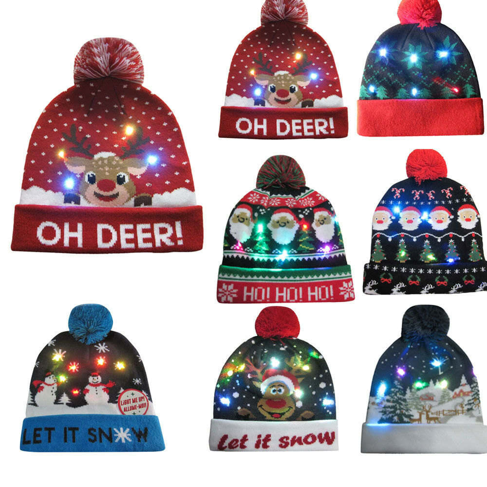 a1c197486c3e1 LED Christmas Beanie Light Up Hat Christmas Tree Hat Crochet Knitted
