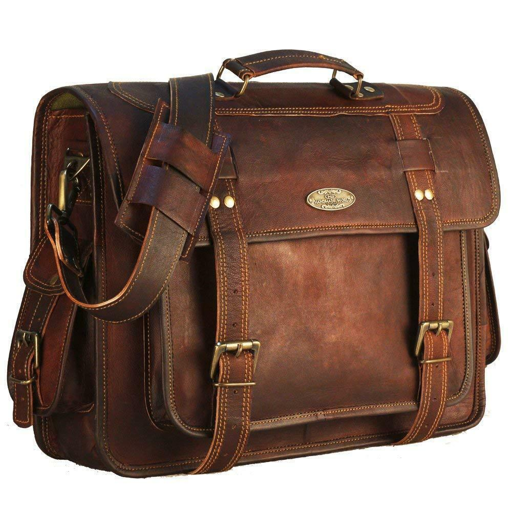 Details about 18 Inch Large Retro Hunter Leather Laptop Messenger Bag  Office Briefcase Bags e8fd0cb684741