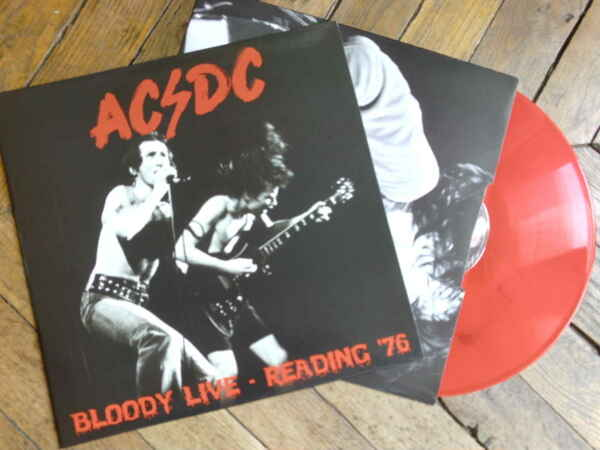 AC DC Bloody live LP Vinyl couleur Pochette interieur Reading 76