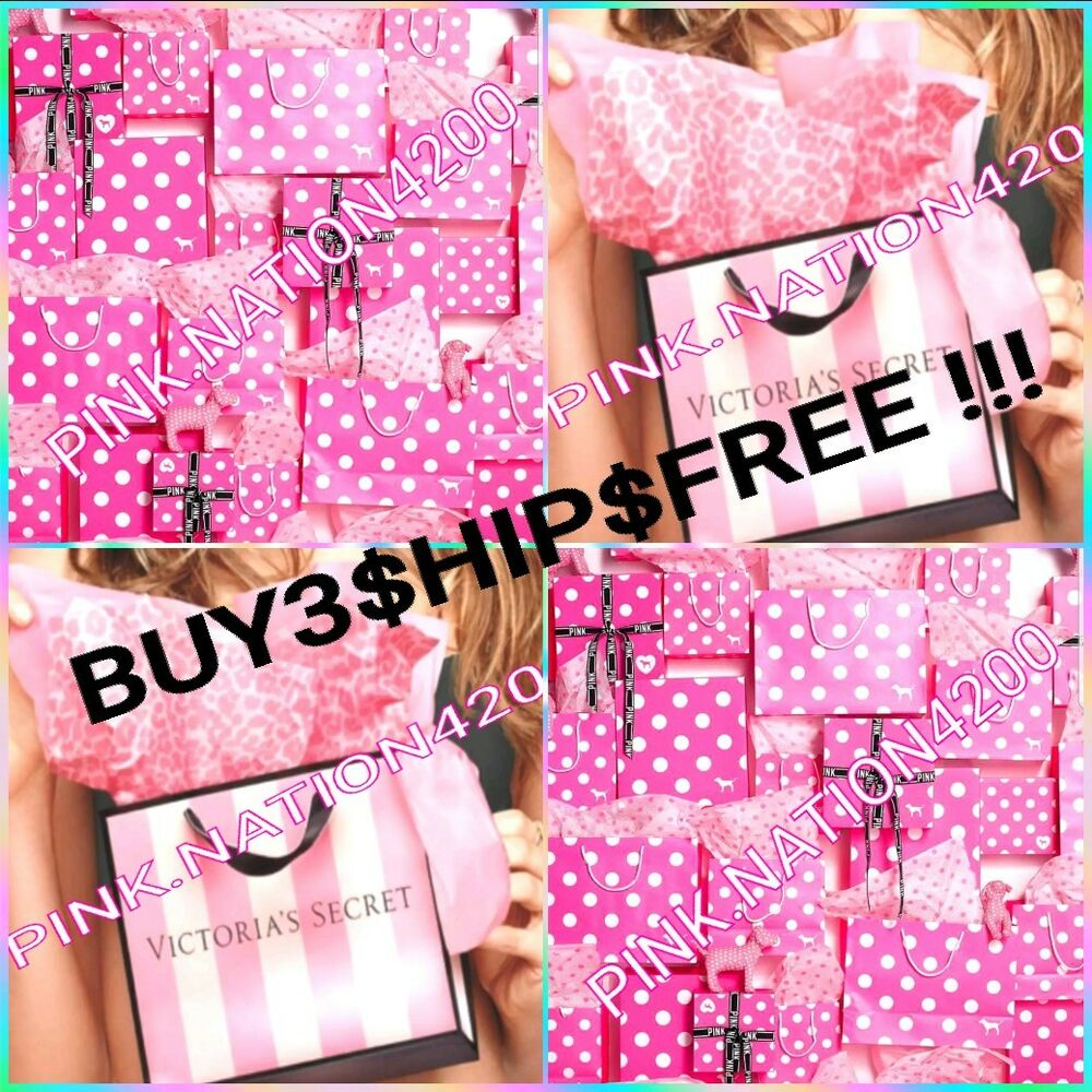cd72d4b24c1 Details about VICTORIA S SECRET PINK POLKA DOT STRIPED GIFT BOXES BAGS  TISSUE HAIR TIES RIBBON