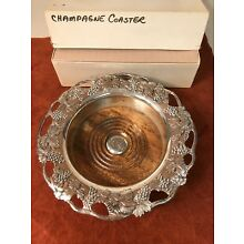 TAJ IMPORTING CO. Silver Plated Champagne Wine Bottle Coaster Wood Base