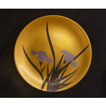 Antique Japanese Gold & Red Lacquer Wooden Sake Cup w/Silver Irises! c.1925