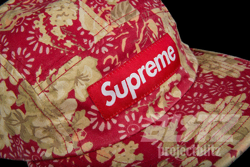 3a65da8e950 Details about SUPREME WASHED CHINO TWILL CAMP CAP FLORAL SS18 2018 RED BOX  LOGO HAT