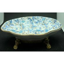 Porcelain Soap Dish with Gold Colored Metal Base