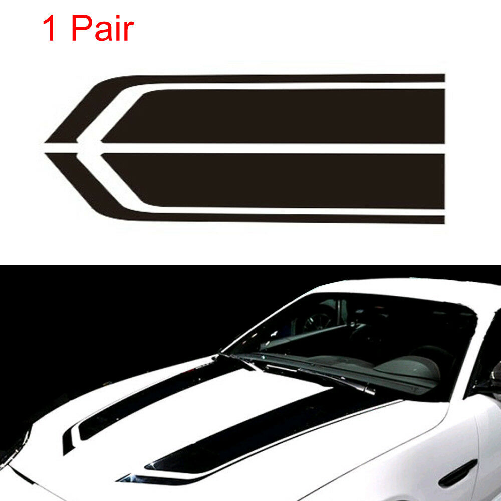 Details about 2x car black racing sports stripes hood decals auto vinyl bonnet stickers good