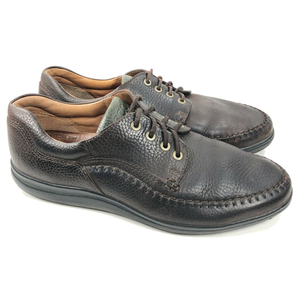 77c9596eba1e Details about ECCO Seawalker Men s EU 45 US 11 Brown Pebbled Leather  Oxfords Lace Up Shoes