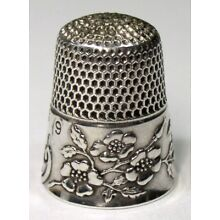 Antique Ketcham & McDougall Sterling Silver Thimble Wild Roses Design C 1900s