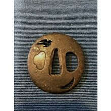 [RARE] TSUBA WAKIZASHI Japanese antique item for Japanese swords iron samurai