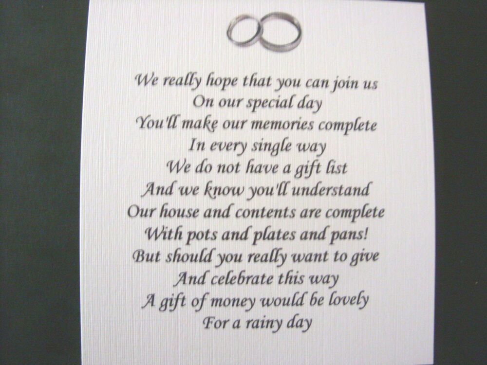 20 Wedding Poems Asking For Money Gifts Not Presents Ref No 12 Ebay