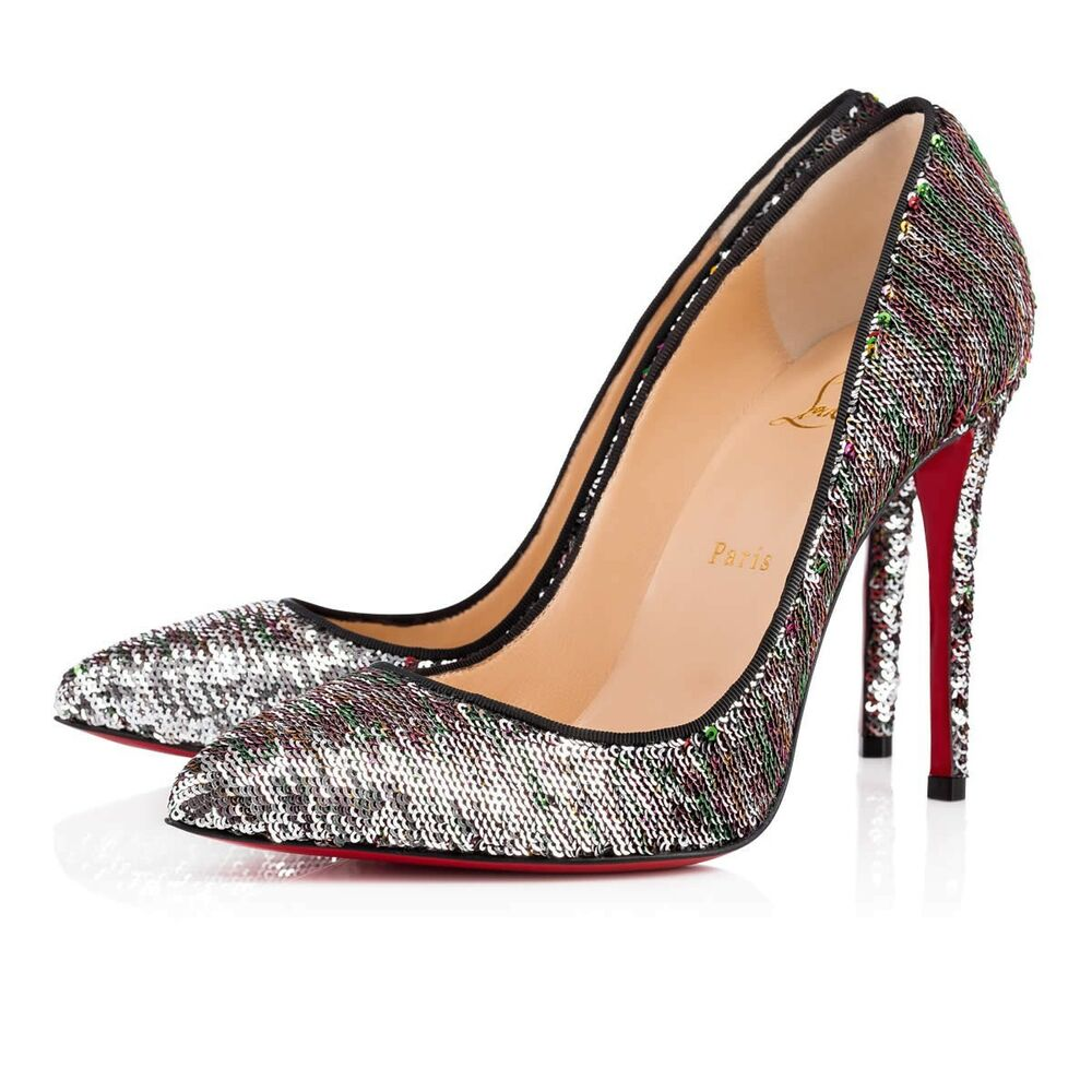 a7bebc3e5ee Details about NIB Christian Louboutin Pigalle Follies 100 Silver Sequin Red  Pump Heel 36.5
