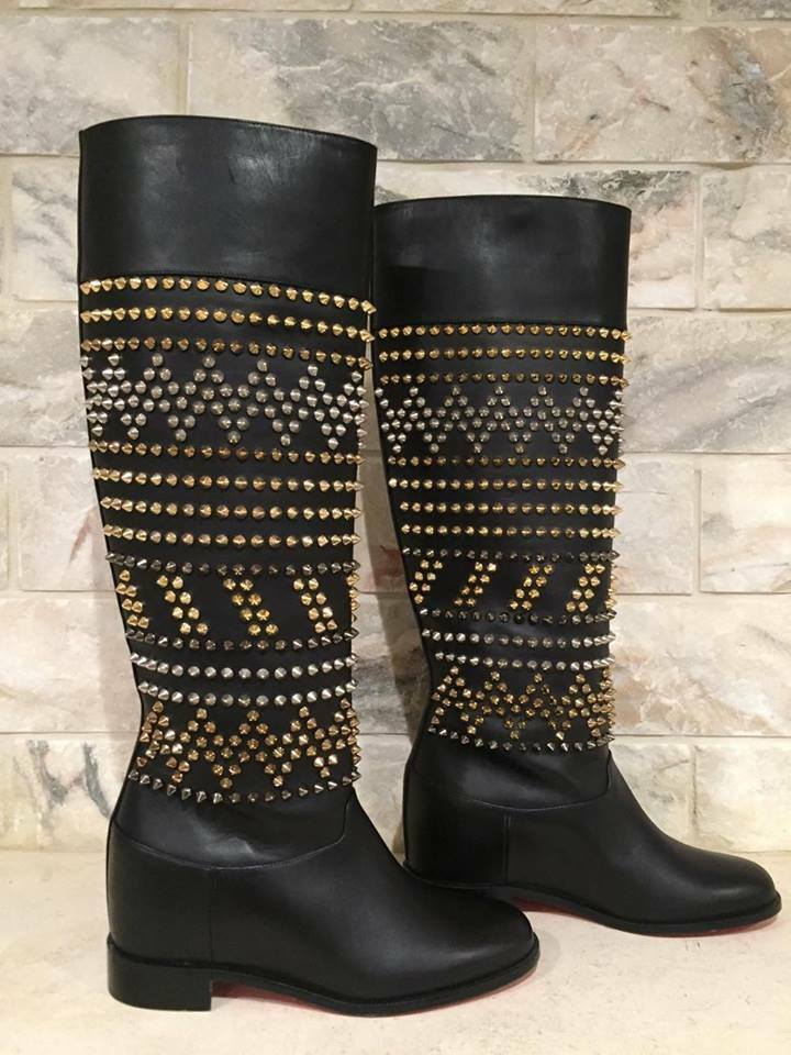 2573befb48b5 Details about NIB Christian Louboutin Rom Chic Spike Leather Black Knee  Tall Boots 35.5  2295