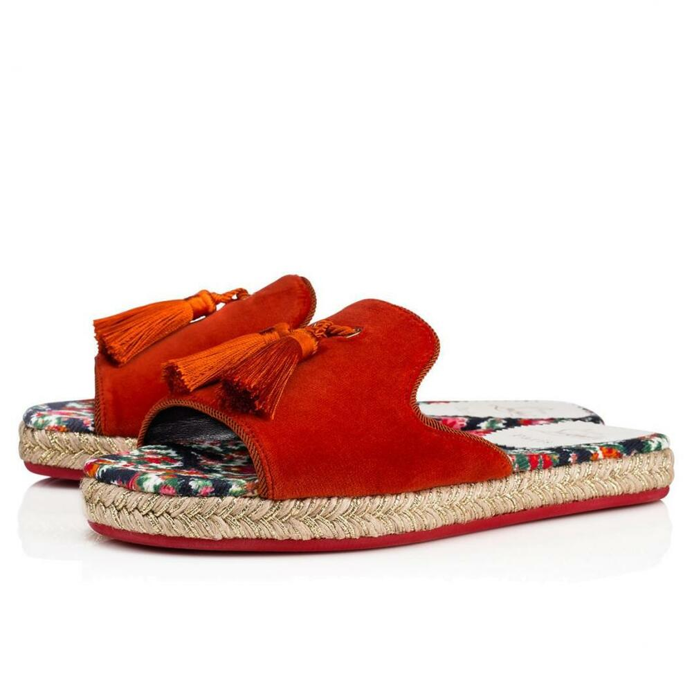 a0d0eed6cdec Details about NIB Christian Louboutin Pacha Flat Red Bisou Tassel  Espadrille Slide Sandals 41