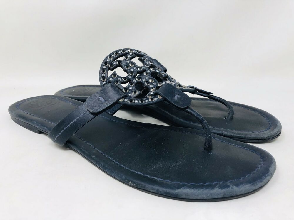 884eb2ddbf14d7 Tory Burch Miller Embellished Thong Sandal Size 10.5 Navy Leather MSRP  228