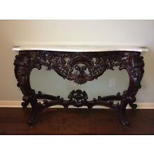 Carved Console Table - Oriental Rosewood with Marble Top