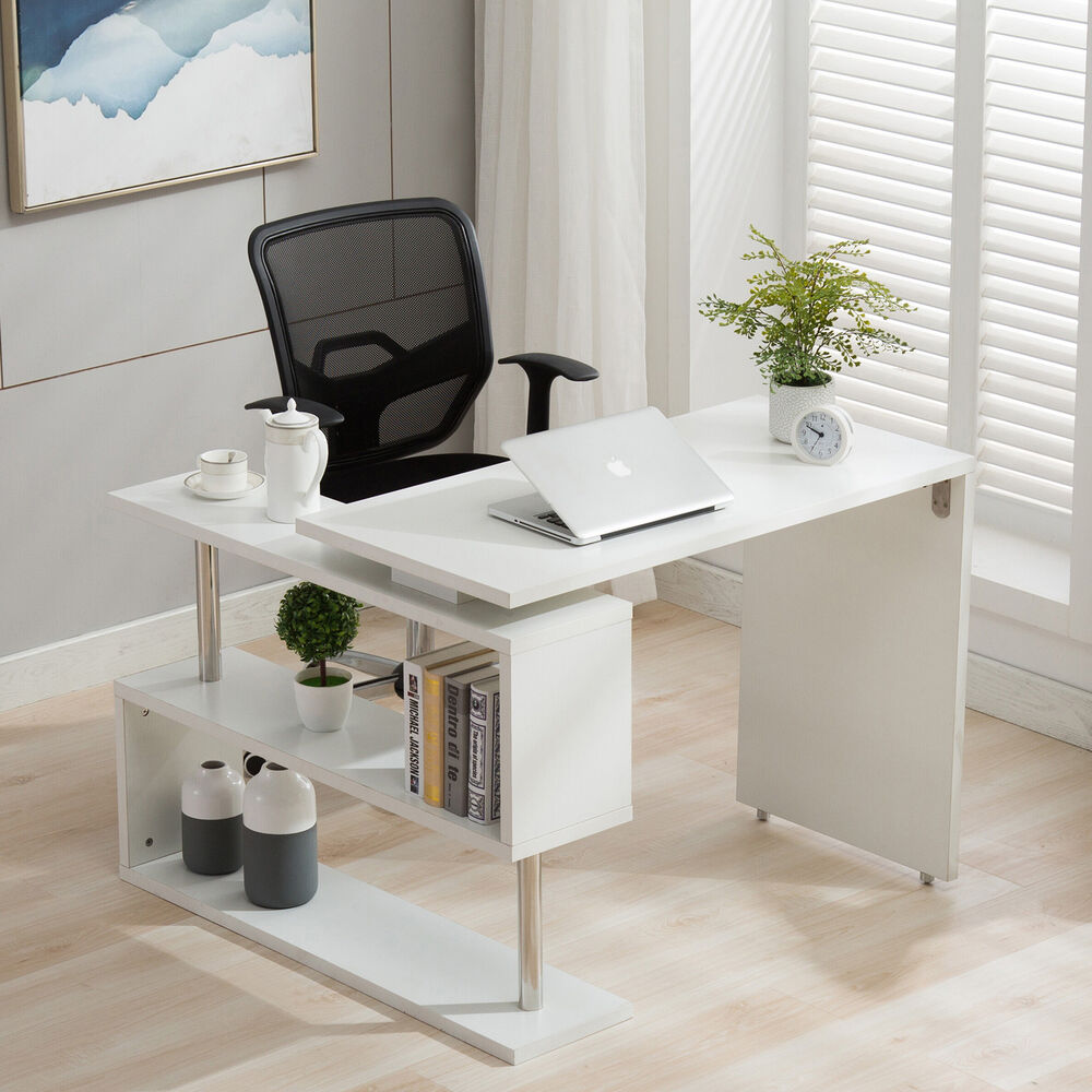 Details About Home Office Rotating Computer Desk Workstation Study PC Table  W/Storage Shelves