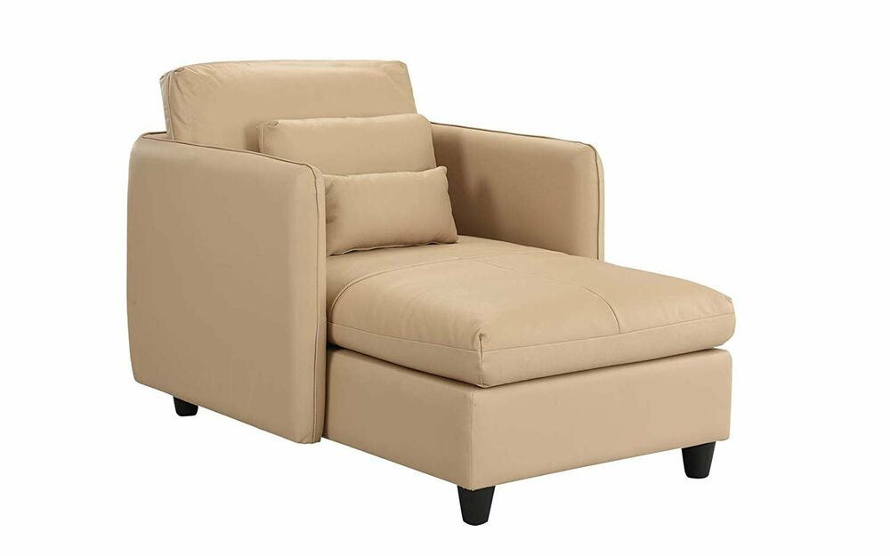 Small Space Chaise Lounge for Living Room, Leather Match ...
