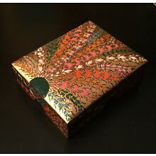 Vintage India Kashmir HAND PAINTED  LACQUERED  BOX  flowers