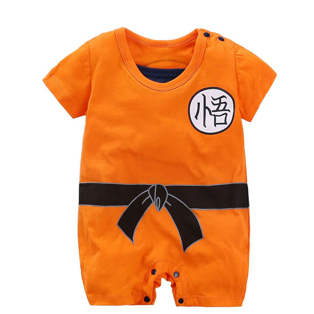 1e32e4813955 Details about Dragon Ball Goku Costume Newborn Baby Boy Romper Bodysuit  One-piece Jumpsuit