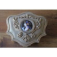 Antique Brass Lady Dresser Box Hand Painted Jewelry Filigree Enameled Vanity