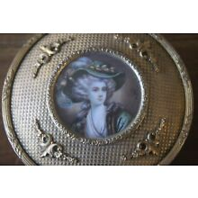 Antique Brass Round Lady Dresser Box Hand painted Signed Jewelry Vanity Filigree