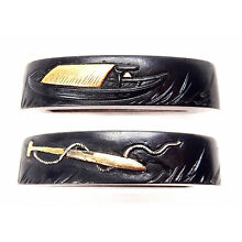 Antique Japanese Fuchi Shakudo Boat Oar Sword Fitting Tsuka Handle Koshirae Old