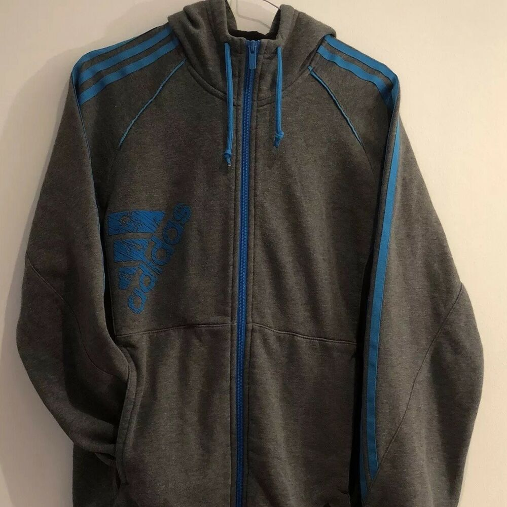 aae92e7cdb0 Details about Men s Adidas Hoodie Grey Blue Tracksuit Zip Up Hooded Small  Jacket Coat Gym Nike