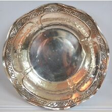 Antique English Hand Hammered Sterling Wine Coaster with scalloped edges