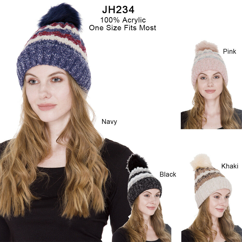 Janice Apparel Women\'s Winter Stripes Pattern Cable Knit Warm Beanie ...