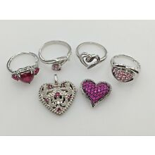 STERLING SILVER 925 VARIETY OF PINK CUBIC ZIRCONIA CZ 4 RINGS LOCKET PENDANT LOT