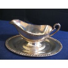 LARGE SILVER PLATE GRAVY BOAT with UNDERPLATE in