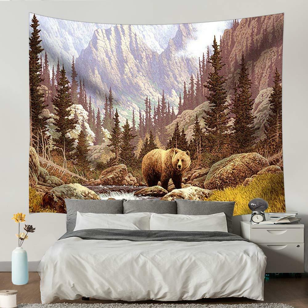 Details About Animal Painting Bear And Mountain Pine Forest Bohemia Tapestry Wall Hanging Rug
