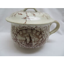 Antique 1880's Brown Transferware Chamber Pot w/ Lid