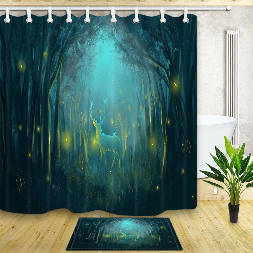 Details About Elf Deer In Dark Forest 71 Fabric Shower Curtain Bathroom Waterproof 12 Hooks