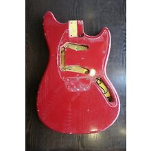 Vintage 1960's guitar Fender Musicmaster body original red with nice checking
