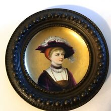 ANTIQUE HAND PAINTED CHARGER FROM 19 CENTURY FRANCE,ORIGINAL FRAME,BEAUTIFUL.