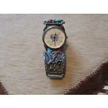 SOUTHWESTERN STERLING SILVER TURQUOISE & CORAL BAND &  LIBERTY WATCH