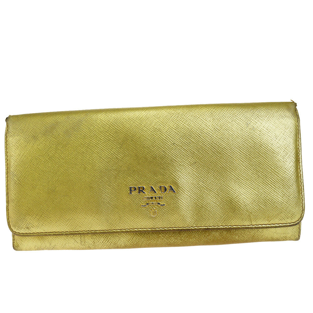 269eb8a0e58245 ... usa details about authentic prada milano logo long bifold wallet purse  leather gold italy 06ek669 c4e89
