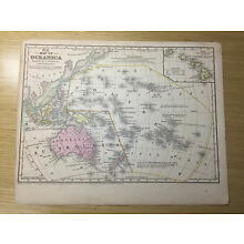 1852 Mitchell's School Atlas Map of OCEANICA, hand colored map