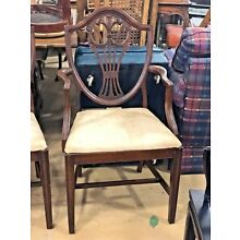 1960s English Traditional Wooden Shield Back Dining Chairs - Set of 6