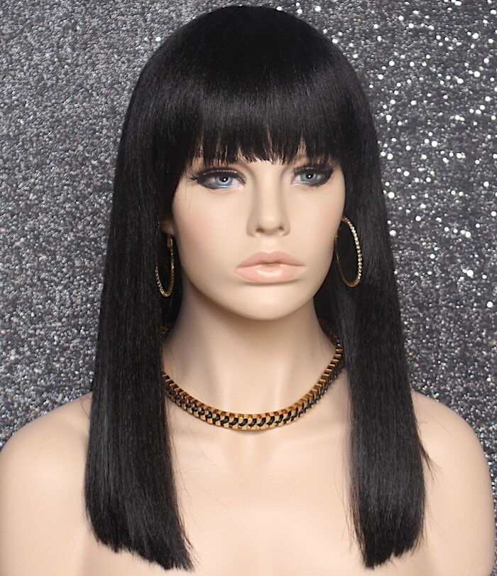 Details about Sexy Choppy Ends Black Color Wig Straight Blunt Bangs Hair  Piece 1B Synthetic 36798ecdcf0c