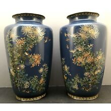 Japanese Meiji Golden Age Pair of Cloisonne Vases attributed to Hayashi Kodenji