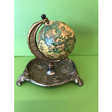 Vintage Small World Globe On Brass Metal Stand / tray 10cm