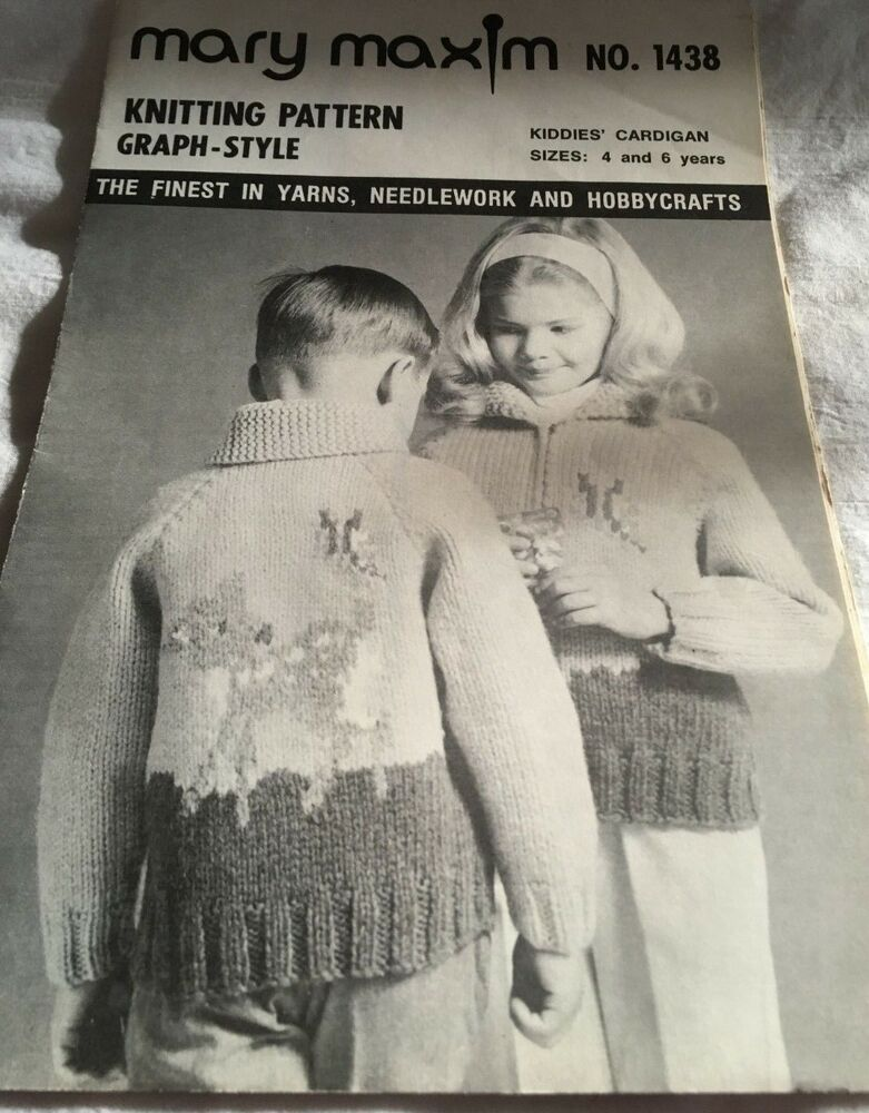 d35792fe6344 Details about Mary Maxim Knitting Pattern Graph-Style Kiddie s Cardigan  Item 1438