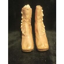 "Antique Victorian Leather Pink Child's Button Up Boots - 5"" Tall"