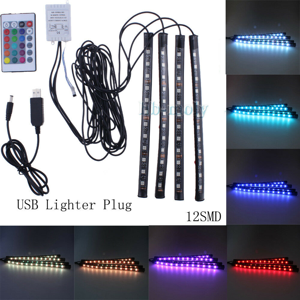 Car Lights 4pcs Wireless Remote Control Interior Floor Foot Decoration Light 12led Car Interior Atmosphere Rgb Neon Decorative Lamp Available In Various Designs And Specifications For Your Selection