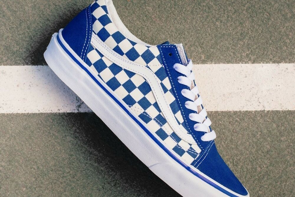 30fae9d966bad6 Details about New Vans Old Skool Blue Primary Checkerboard Men s Size 5.5  Women s Size 7