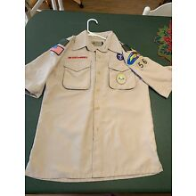 Boy Scouts Of America BSA Tan Vented Polyester Uniform Shirt Youth Size Large