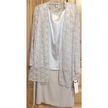 Mother of the Bride Semi Formal Skirt Suit, Tea Length Wedding Church, Silver 24